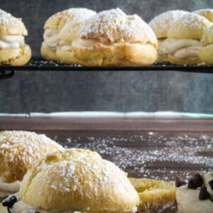 These cream puffs are sweet, tender, stuffed with an irresistible cannoli cream filling and topped with just a sprinkle of powdered sugar. Enjoy this traditional French pastry with an Italian twist, or fill it with whatever sweet treat you're craving. You won't believe how deceptively easy they are to make, and your guests won't be able to tell they're gluten free!