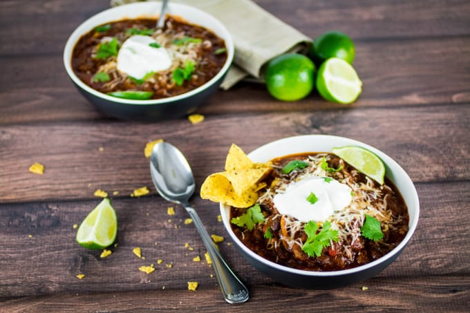 This is seriously the easiest, most delicious slow cooker turkey chili you will ever need. Spices combine with peppers and onions for big flavor in this meaty dish. You won't believe how simple it is the make! All you need to do is set it, forget it, and come home to a hot meal.