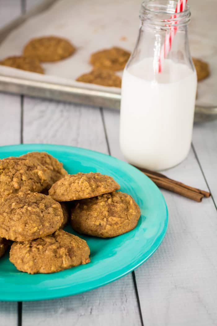 Soft Baked Gluten Free Pumpkin Oatmeal Cookies-5