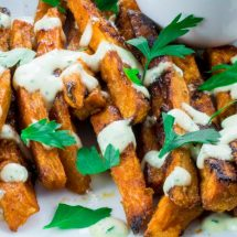 Crispy Baked Sweet Potato Fries With Garlic Aioli Dipping Sauce