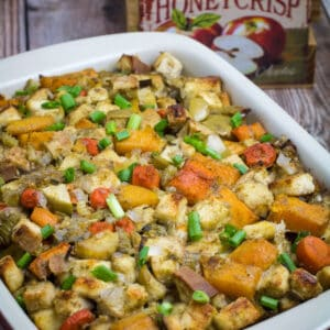 Savory, sweet, and packed with the flavors of herbs and autumn vegetables, this Gluten Free Root Vegetable Stuffing is the perfect addition to your Thanksgiving table. Apples, raisins, and apple cider come together with a mix of root vegetables, gluten free bread, herbs, and a buttery vegetable broth to bring your holiday stuffing to the next level.