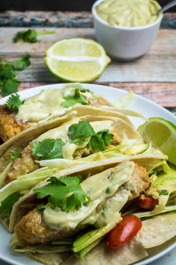 Oven fried fish tacos with spicy avocado cream sauce for Fried fish tacos recipe