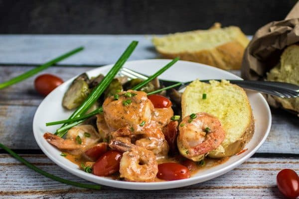Shrimp and Scallops in Creamy Marinara Sauce