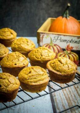 gluten free pumpkin muffins on a cooling rack