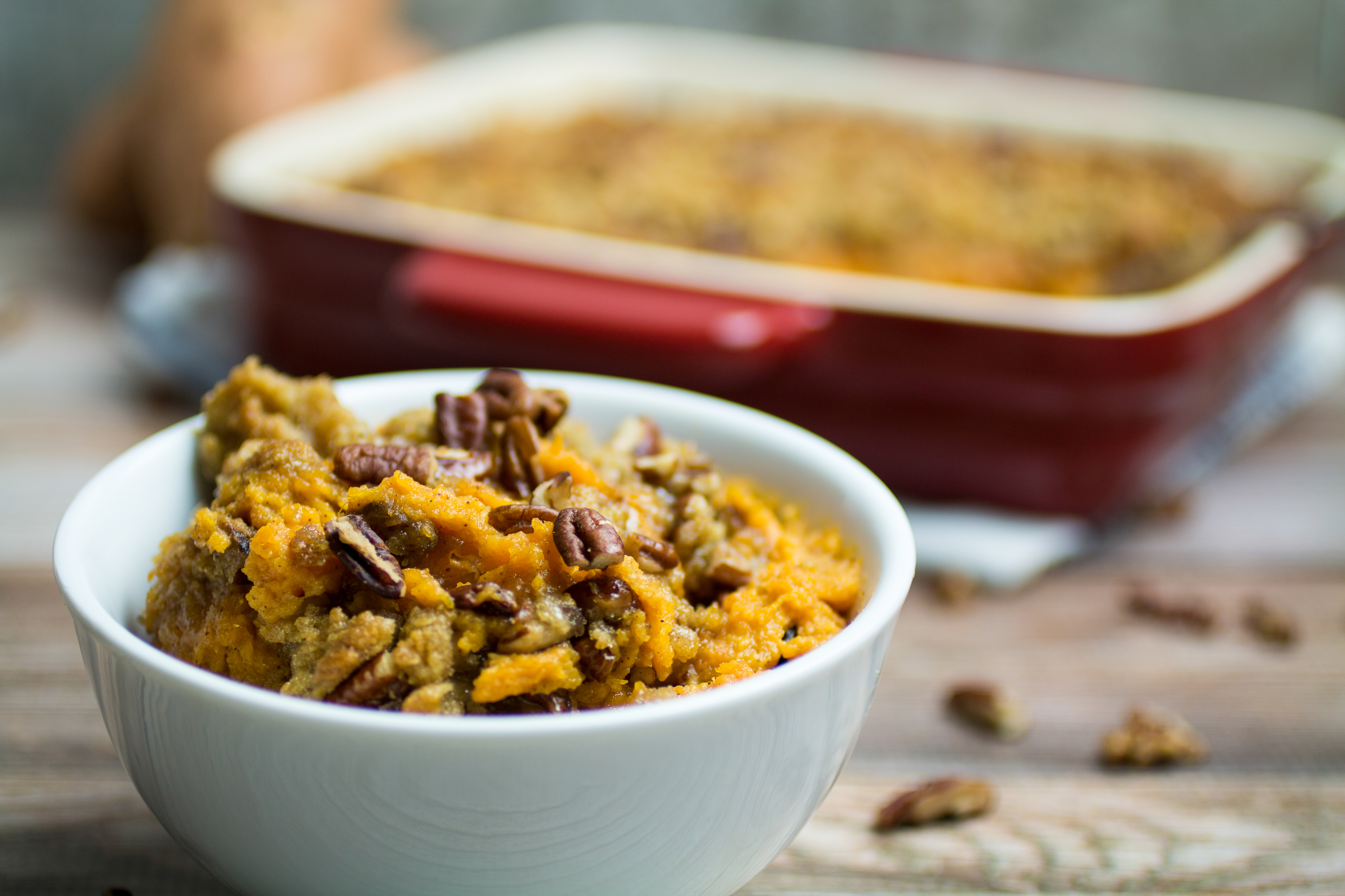 Easy Sweet Potato Casserole With Pecan Crumble Topping Dishing Delish