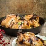 Polenta Stuffed Cornish Hens & Balsamic Apricot Glaze
