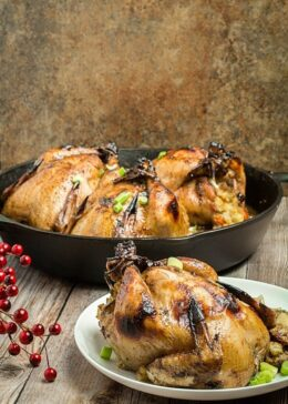 Polenta Stuffed Cornish Hens with Apricot Glaze