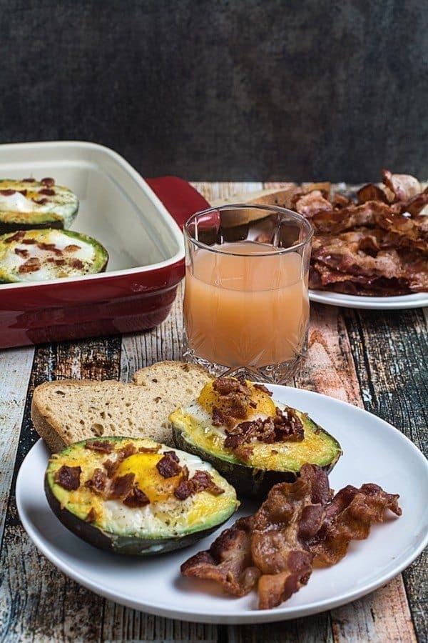 Bacon Egg & Cheese Baked Avocados