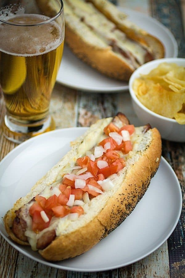 Dad's Beer Marinated Brats with Garlic Aioli