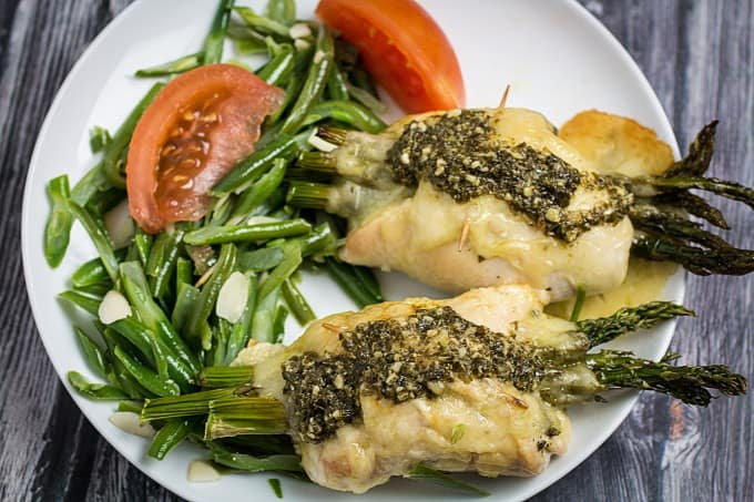 asparagus stuffed chicken with swiss