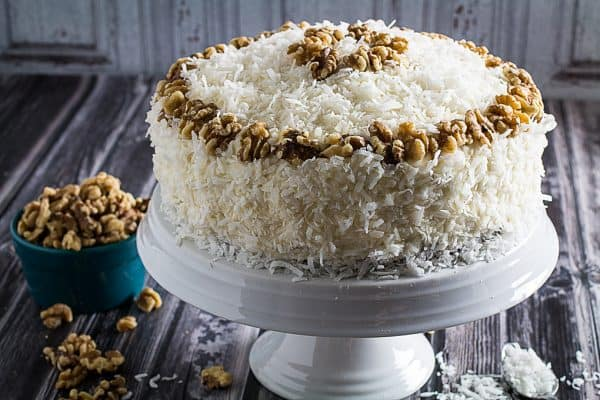 Gluten Free Carrot Cake with Coconut & Cream Cheese Frosting