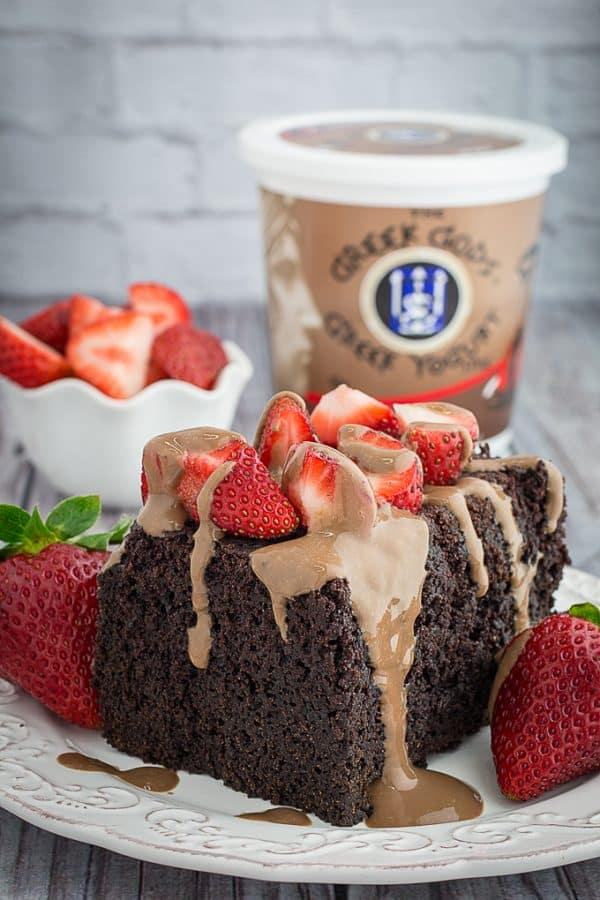 Slow Cooker Chocolate Strawberry Cake & Yogurt Glaze