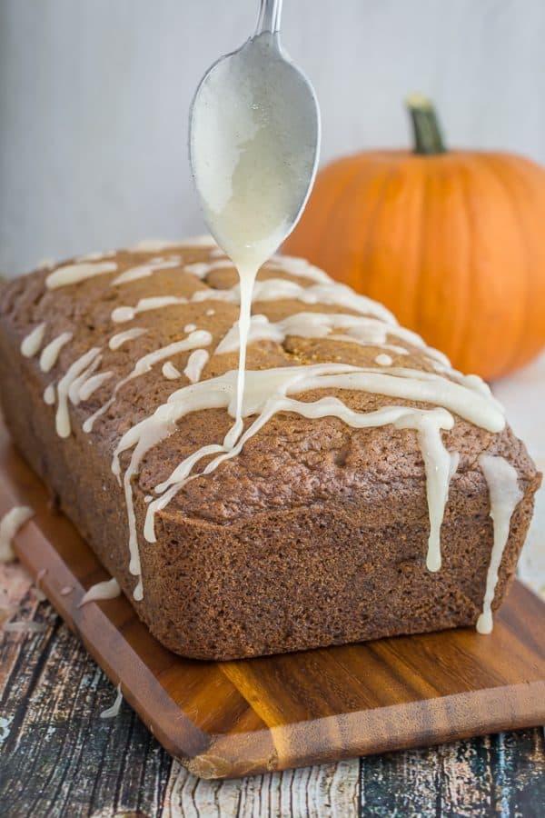 Gluten Free Pumpkin Bread & Pumpkin Spice Glaze