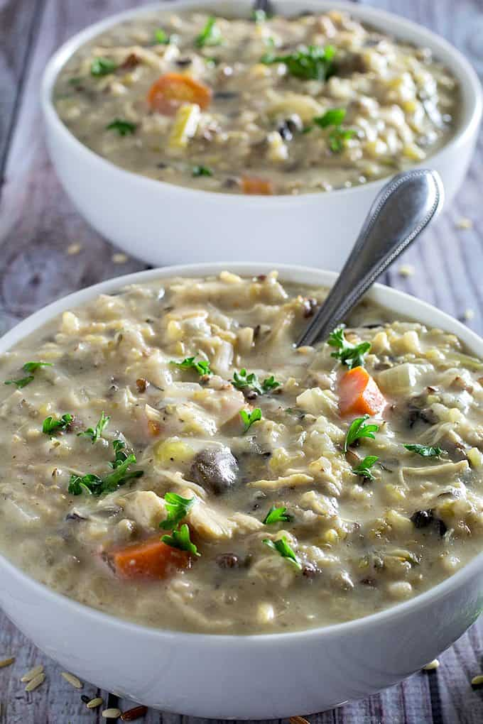 slow cooker creamy chicken & wild rice soup