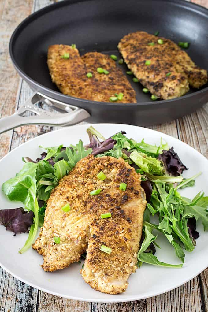 Almond Parmesan Crusted Tilapia - Dishing Delish
