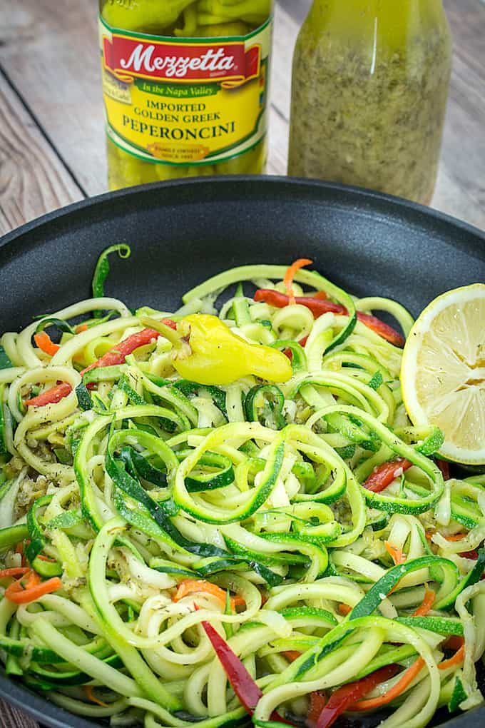 Peperoncini Vinaigrette With Garlic Sauteed Zoodles