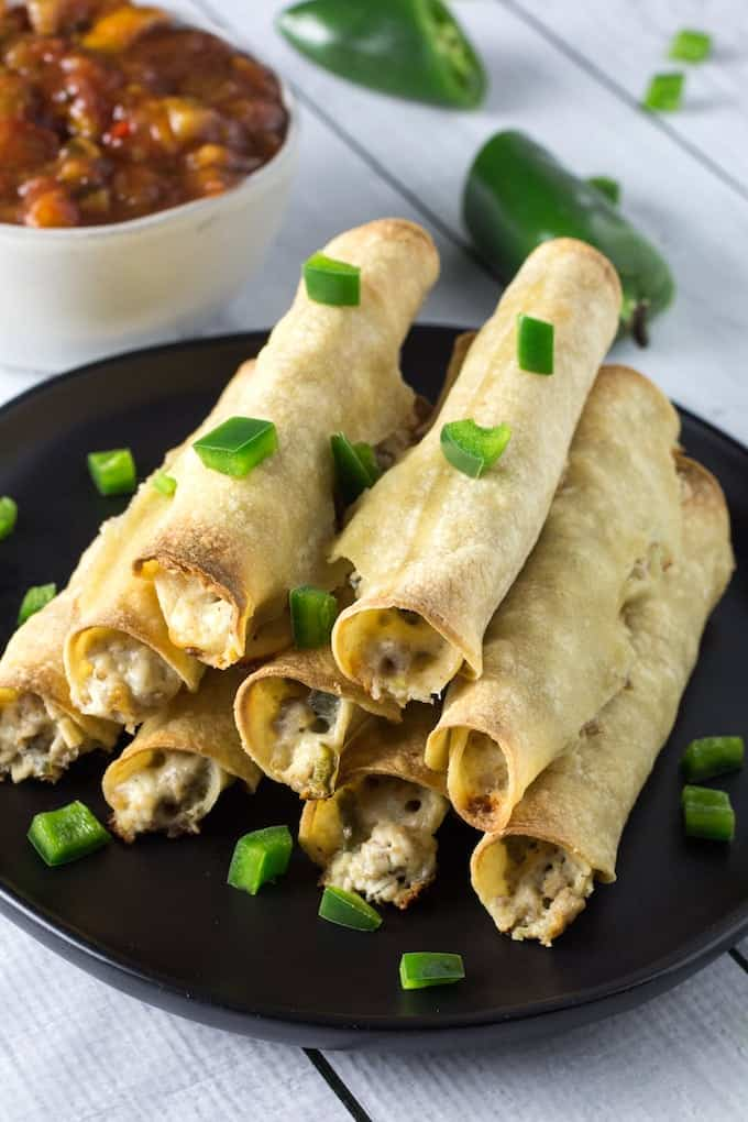 Baked Chicken Taquitos With Cream Cheese & Jalapenos ...