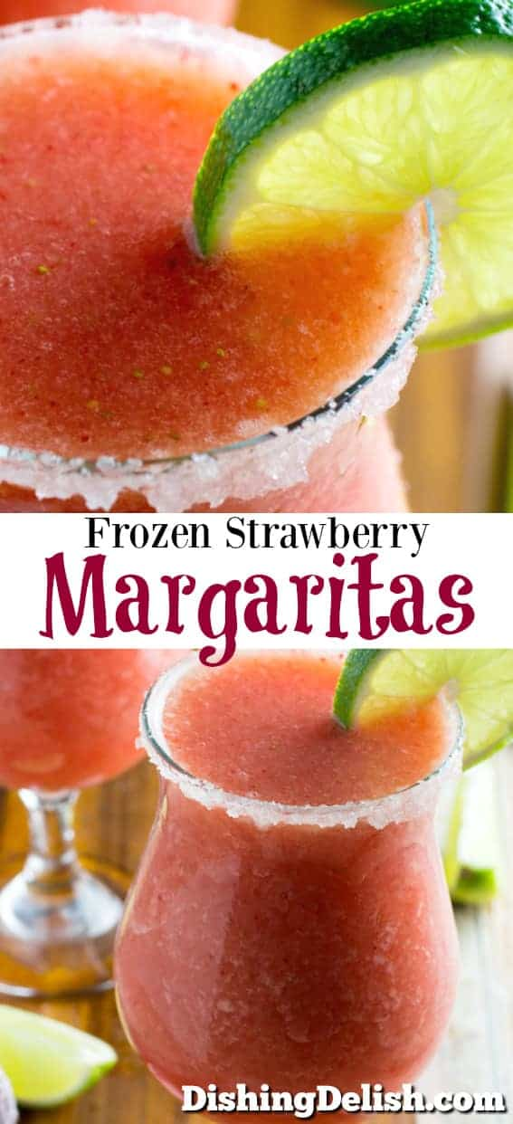 Frozen Strawberry Margarita From Scratch is a really simple recipe using frozen strawberries, lime juice, orange juice, sugar, and (most importantly) tequila! They taste just like they came from your favorite bar or restaurant, and you can be sure they're gluten free!