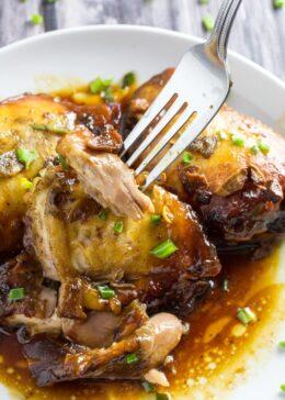 Slow cooker honey garlic chicken thighs-2