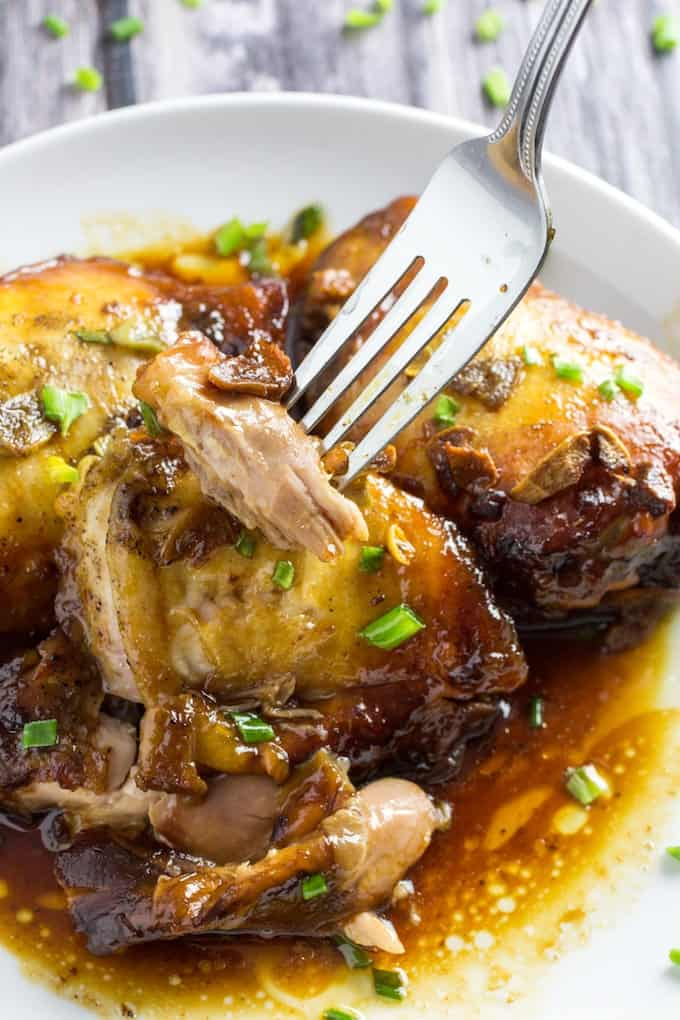 Slow cooker honey garlic chicken thighs-2