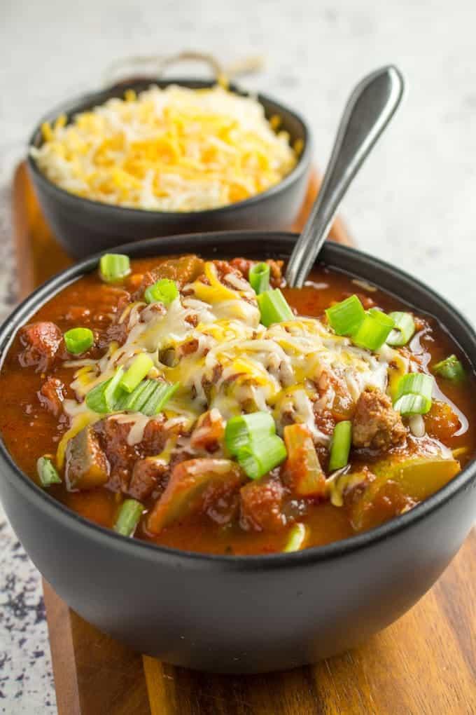 Low Carb Chili Recipe No Bean Chili Dishing Delish