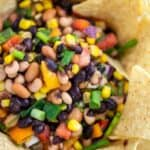 Cowboy Caviar Recipe served with tortilla chips