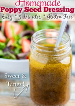 Pinterest pin of poppy seed dressing in a mason jar with a spoon