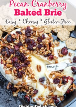 pinterest pin downward shot of pecan cranberry baked brie with gooey cheese melting out