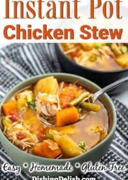 Pinterest pin Two bowls of chicken stew on top of a kitchen town. The front bowl has a spoon in it.